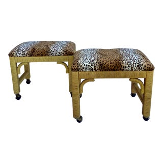 1980s Boho Chic Raffia Wrapped Leopard Benches - a Pair For Sale