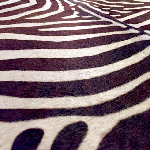 Zebra Stenciled Black Ivory Hide Rug - 6'10 X 5'7 - Image 6 of 9
