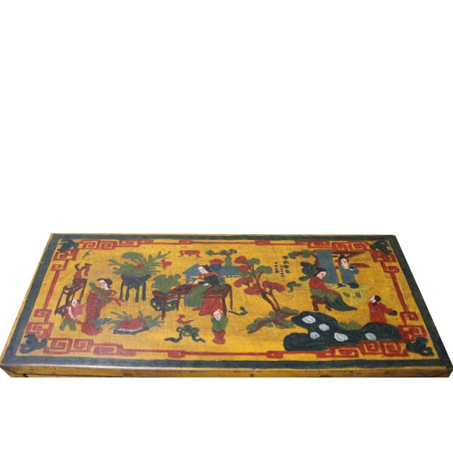 Yellow Chinese Yellow Lacquer Graphic Table Top Stand Display Easel For Sale - Image 8 of 9