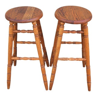 Pair of Natural Patina Bar Stools For Sale