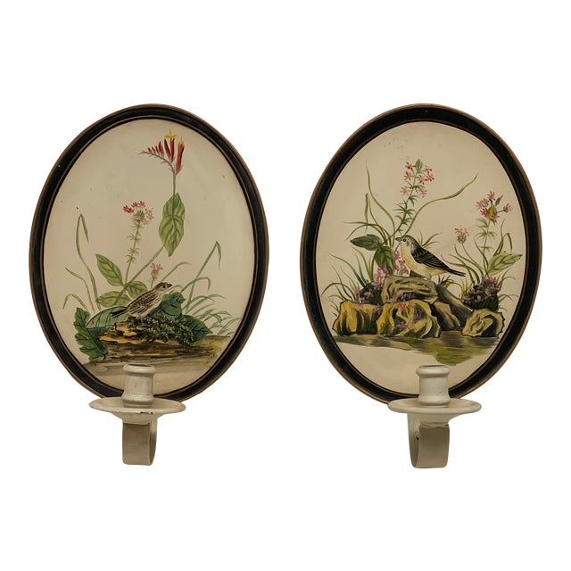 Mid-Century Antique Birds Hand Painted Tole Wall Sconces - a Pair For Sale