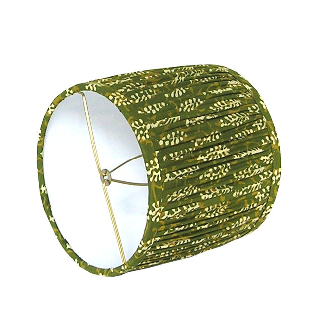 Boho Chic Green Block Print Gathered Sconce or Chandelier Shade For Sale - Image 3 of 6