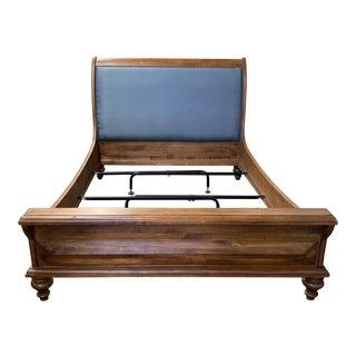 Queen Size Henredon Harden Furniture Sleigh Bed Frame + Silk Headboard For Sale
