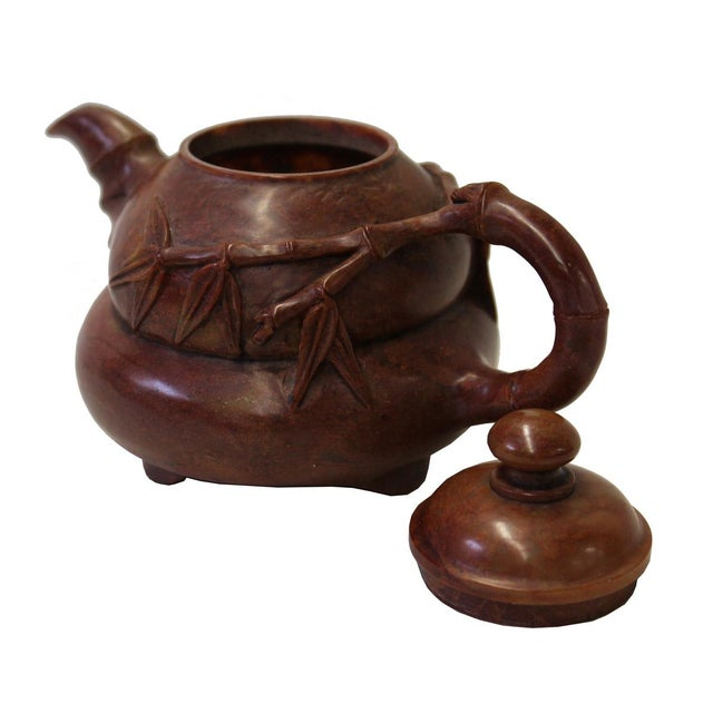 Chinese Brown Red Soap Stone Carved Teapot Display Art For Sale - Image 5 of 7