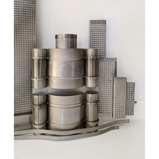 Curtis Jere Curtis Jere World Trade Center Twin Towers Metal Wall Sculpture For Sale - Image 4 of 7