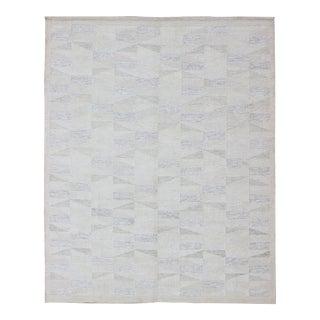 Scandinavian Flat-Weave Design Rug With Minimalist Stripe Design in Cream For Sale