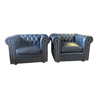 Vintage 1980 Chesterfield Marshall Fields Armchairs - Set of 2 For Sale