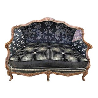Modern Recycled Reupholstered Victorian Sofa For Sale