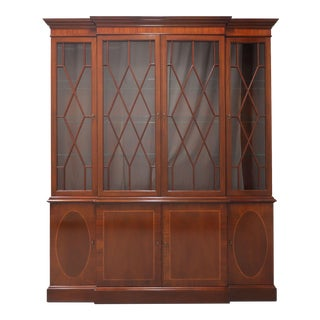 Baker Historic Charleston Inlaid Mahogany Breakfront China Cabinet For Sale