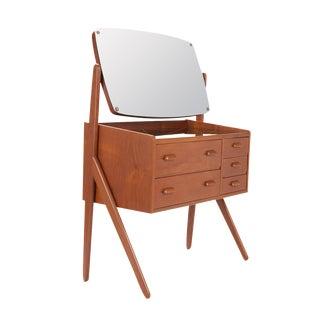 1950 Danish Modern Teak V-Legged Vanity