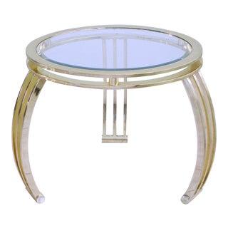 Hollywood Regency Brass & Glass End Side Table Tripod For Sale