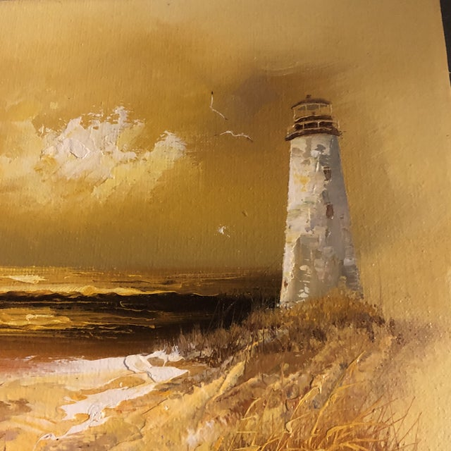 Original Vintage 1960's Seascape Painting With Lighthouse & Seagulls Signed For Sale - Image 4 of 6