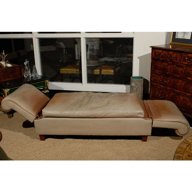 French French Convertible Leather Daybed For Sale - Image 3 of 6