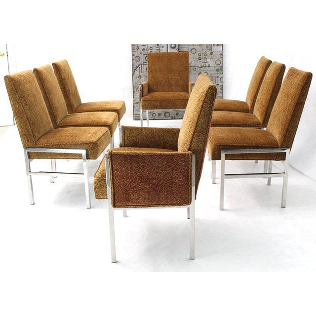 Milo Baughman Set of Eight Chrome Frame New Upholstery Dining Chairs Two-Arm Chairs For Sale - Image 4 of 13