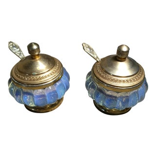Antique/Vintage Brass and Blue Salt Cellars - a Pair For Sale