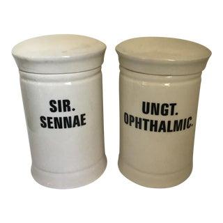 Vintage Porcelain Apothecary Jars - a Pair