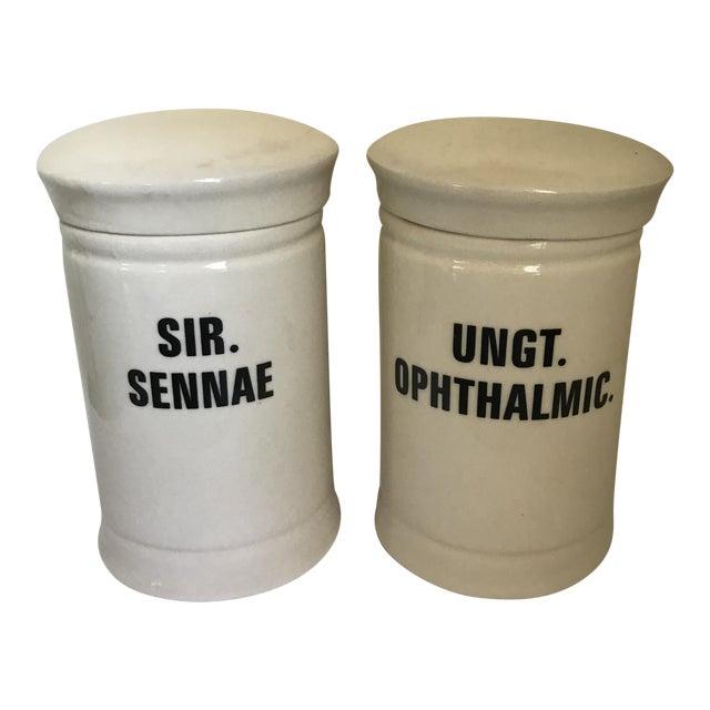 Vintage Porcelain Apothecary Jars - a Pair For Sale