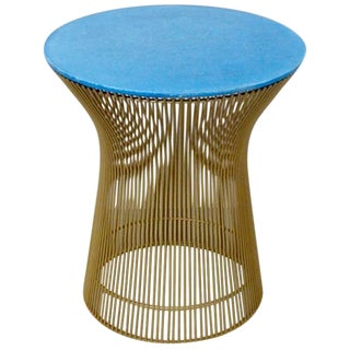 Warren Platner for Knoll Gold Powder Coated Wire Base Table with Blue Cement Top For Sale