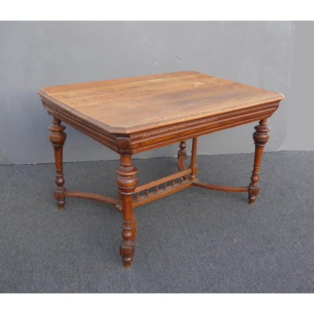 Antique Spanish Style Library Table Desk W Stretcher Mission Style For Sale - Image 4 of 13