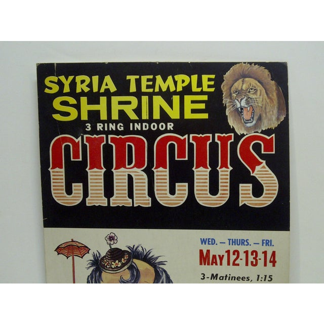 American Circa 1960 Syria Temple Shrine 3-Ring Indoor Circus Poster For Sale - Image 3 of 5