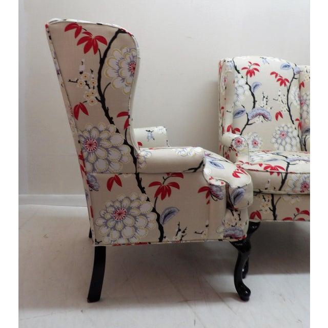 1970s Floral Upholstery Wingback Chairs - a Pair For Sale - Image 5 of 8