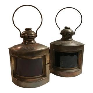 Antique Copper Nautical Ship Lanterns - a Pair For Sale