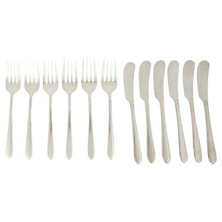 Antique Silver-Plate Flatware, 12 Pcs For Sale