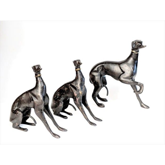 Art Deco Bronze Greyhound Dog Statues - Set of 3 For Sale - Image 3 of 11