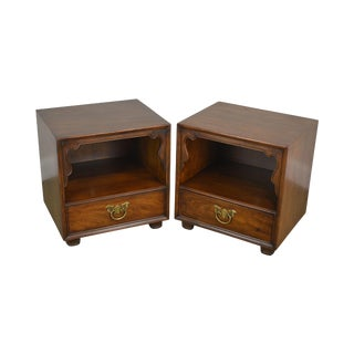 Henredon Folio Eleven Walnut Asian Inspired Pair Nightstands For Sale