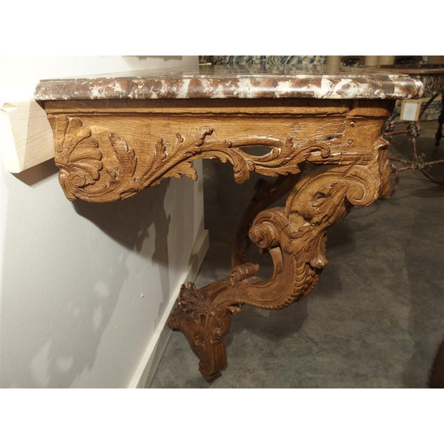 Wood Early 18th Century Oak Regence Console With Rouge Marble Top For Sale - Image 7 of 13