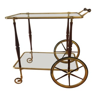 1950s Italian Mid-Century Aldo Tura Style Bar Cart For Sale