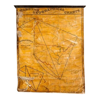 Antique 19th Century North America Pull Down Map For Sale