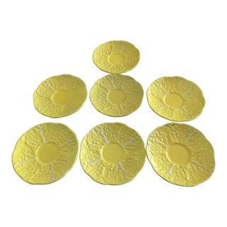 1970s Boho Chic Secla Yellow Vintage Saucers - Set of 7