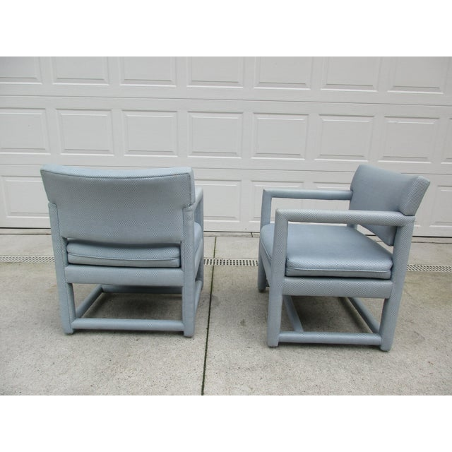 Late 20th Century Parsons Style Arm Chairs -A Pair For Sale - Image 12 of 13