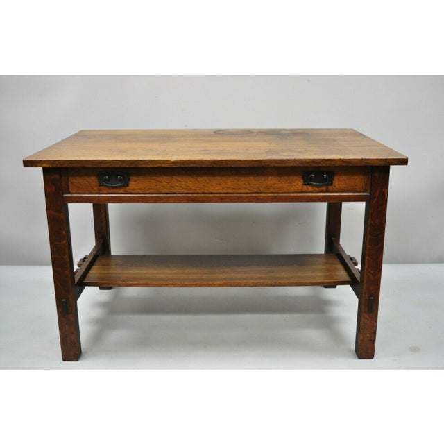 1900s Arts and Crafts L & Jg Stickley Library Table/Writing Desk For Sale - Image 11 of 12