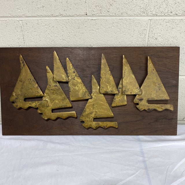 Brutalist Metal Sailboat Wall Sculpture For Sale - Image 10 of 11