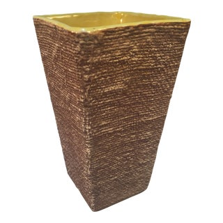 Mid-Century Shawnee Pottery Vase With Burlap Textured Finish For Sale
