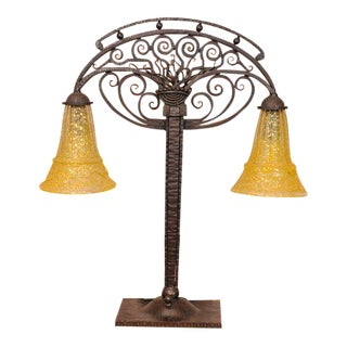 Art Deco Table Lamp With Glass by Daum For Sale