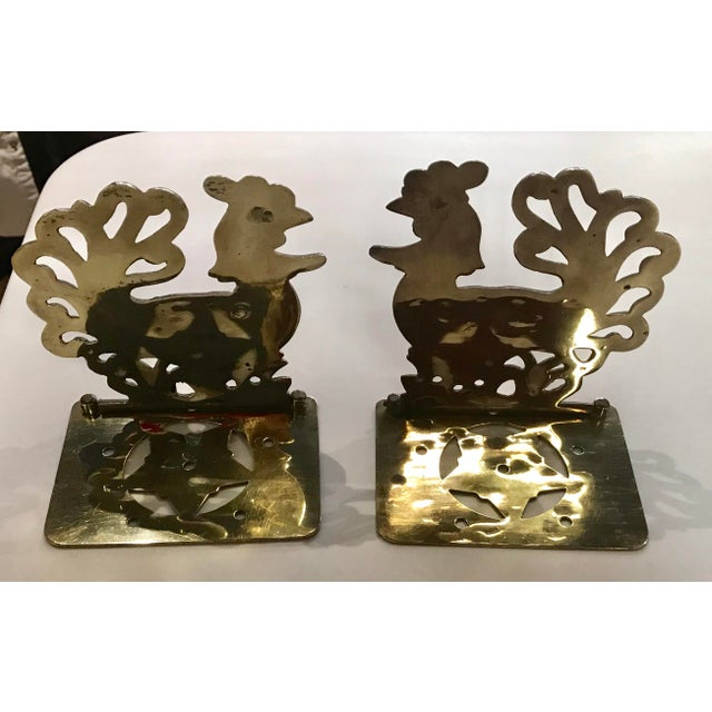 Modern Vintage Brass Rooster Bookends - A Pair For Sale - Image 3 of 11