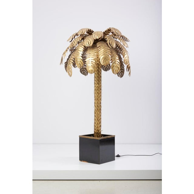 Metal Very Impressive Brass Palm Floor Lamp by Maison Jansen For Sale - Image 7 of 8