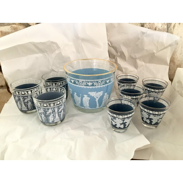 *Please note: this is our final markdown on this set and lower offers will not be accepted* Blue Mid-Century Modern Bar...