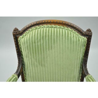 Early 20th Century French Louix XVI Directoire Carved Walnut Green Fauteuil Arm Chairs- A Pair Preview