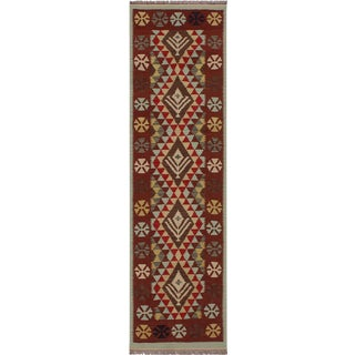 Navajo Style Kilim Blaine Red Hand-Woven Wool Runner- 2'9 X 8'6 For Sale