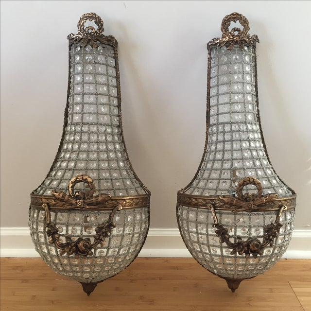 French basket style crystal wall sconces a pair chairish french basket style crystal wall sconces a pair image 2 of 7 aloadofball Images