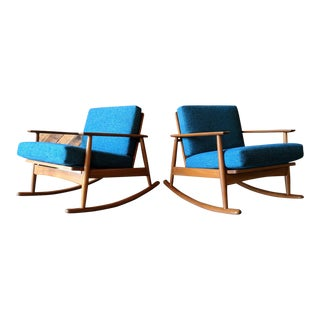 Moreddi Danish Modern Refinished Teak Rocking Chairs - a Pair