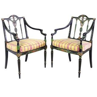 Paint Decorated Ebonized Armchairs - A Pair