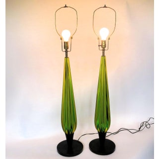 1960s Green Mid Century Murano Glass Lamps With Shades - a Pair Preview