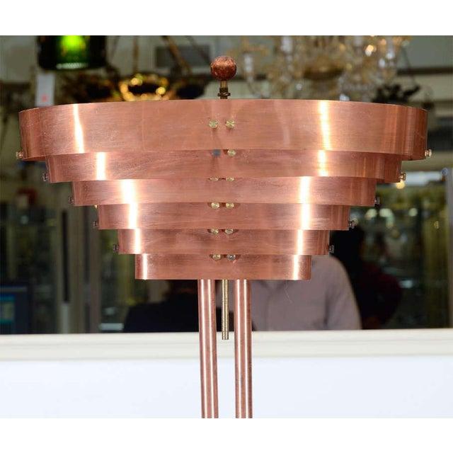 Art Deco ART DECO MACHINE AGE COPPER FLOOR LAMP BY KURT VERSEN For Sale - Image 3 of 3