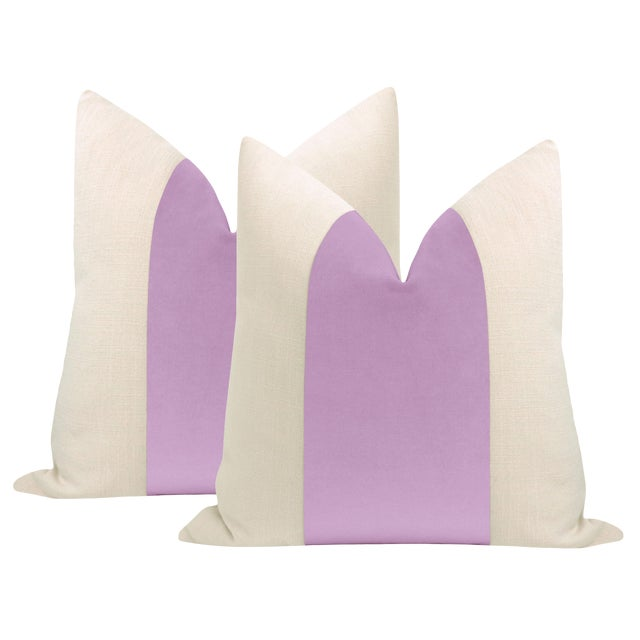 "22"" Lavender Velvet Panel & Linen Pillows - a Pair For Sale"