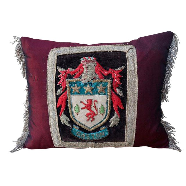 Silk Burgundy Griffin Shield Pillow - Image 1 of 6